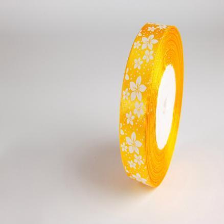Лента атласная 2,5 см.  желтая с белыми цветочками