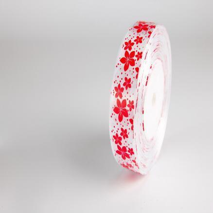 Фото Ленты, Лента атласная  с цветочками Лента атласная 2,5 см.  белая с красными цветочками