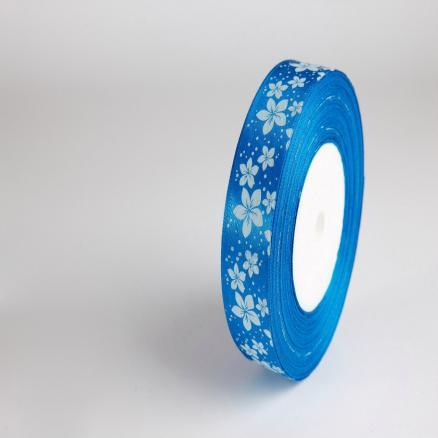 Лента атласная 2,5 см.  синяя  с  белыми цветочками