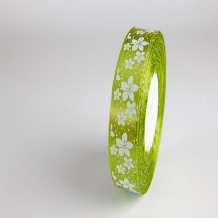Лента атласная 2,5 см.  зелёно - травяная  с  белыми цветочками