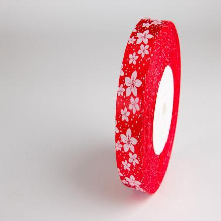 Лента атласная 2,5 см. красная с белыми цветочками