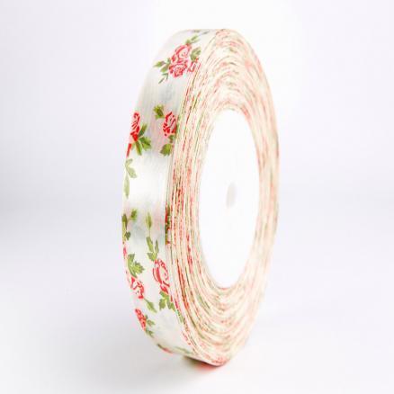 Фото Ленты, Лента атласная  с розочками Лента  атласная 2,5 см.  кремовая в красных розочках