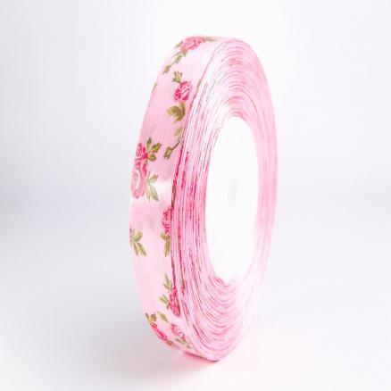 Фото Ленты, Лента атласная  с розочками Лента атласная 2,5 см.  розовая в малиновых розочках