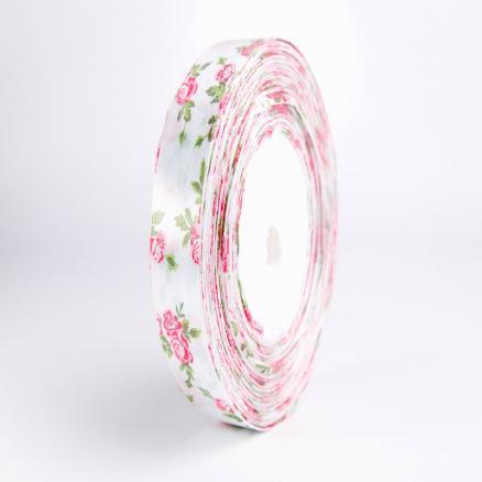 Лента атласная 2,5 см.  белая с розовыми розочками