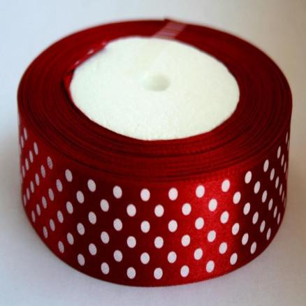 Фото Ленты, Лента атласная  в горох 2.5см-5см Лента атласная 2,5 см. цвет бордо  в белый горошек