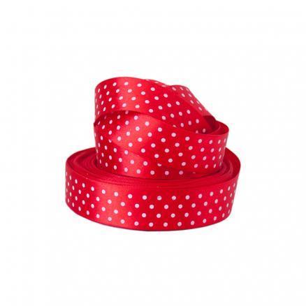 Лента  атласная  2,5 см.  красная  в  белый  горошек