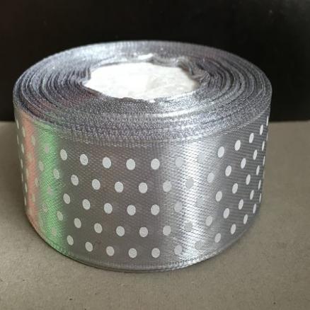 Лента атласная  2,5 см. стальная  в  белый  горошек