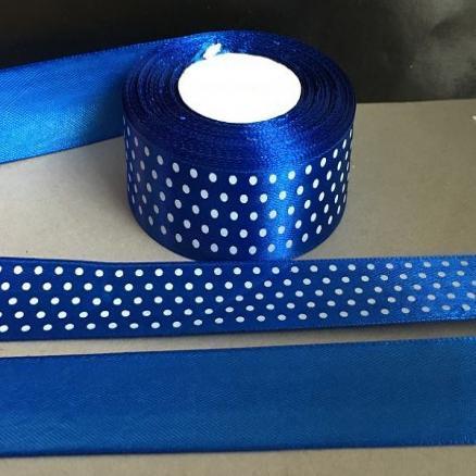 Лента атласная  2,5 см.  синий - электрик  в  белый  горошек.