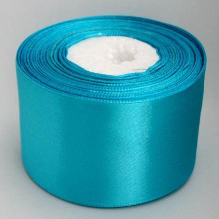 Атласная лента 5 см , цвет бирюза