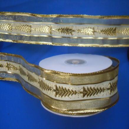 Декоративная  лента  Нейлон - Парча   Золотого  цвета  с  белой  широкой  полосой  и  ёлочками.  Ширина  -  4 см.