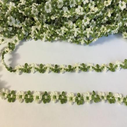 Фото Кружево ,тесьма ,сетка,резинка, Тесьма цветочная Тесьма  цветочек  оливково - белая. ширина 13 мм.