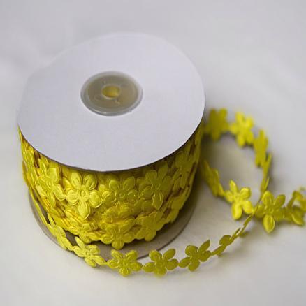 Фото Кружево ,тесьма ,сетка,резинка, Тесьма цветочная Тесьма  цветочек  жёлтая  18 мм .