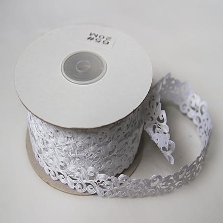 Тесьма  вьюнчик - дорожка  белый цвет , 20 мм.