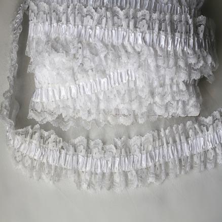 Фото Кружево ,тесьма ,сетка,резинка, Резинка для повязок, резинка простая. Кружево на резинке  4см  , белое