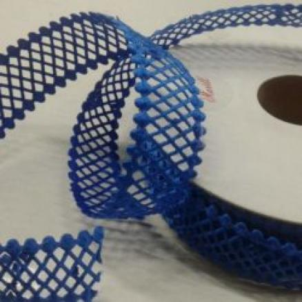 Кружево - сетка,  цвет  синий, ширина  22 мм.
