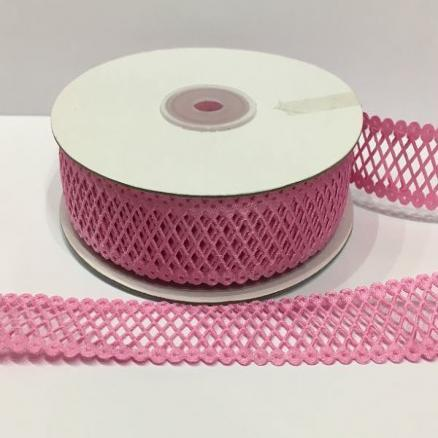 Фото Кружево ,тесьма ,сетка,резинка, Кружево хлопок,сетка -репс Кружево - сетка  розовая, ширина  22 мм.