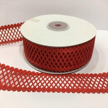 Кружево - сетка  красная, ширина  22 мм.