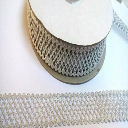 Фото Кружево ,тесьма ,сетка,резинка, Кружево хлопок,сетка -репс Кружево - сетка   серебро , ширина 22 мм.