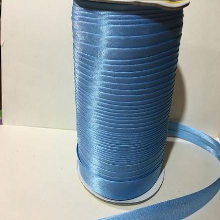Фото Кружево ,тесьма ,сетка,резинка Косая  бейка  атласная , Голубого  цвета.    Ширина  15 мм.