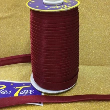 Фото Кружево ,тесьма ,сетка,резинка Косая  бейка  атласная бордовая    Ширина  15 мм.