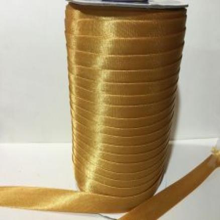Фото Косая бейка атласная 1,5 см Косая бейка атласная.15 мм. цвет тёмное золото
