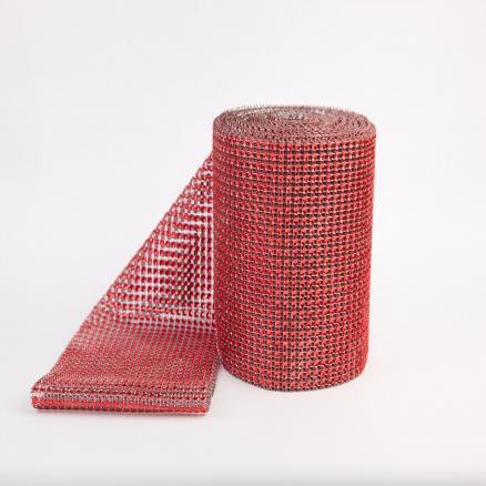 Фото Бусины ,полубусины ,стразы,.цветок.шина, тесьма пластик, Шина Шина  24 ряда  камней .  Красного  цвета , ширина  11.7 см .