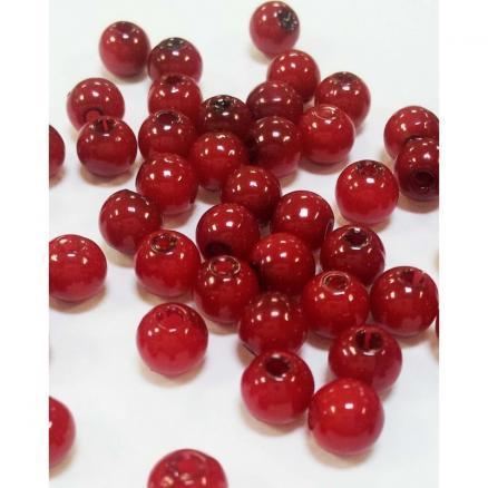 Бусины  Красные пластиковые  5 - 6 мм.  Упаковка  100 шт.