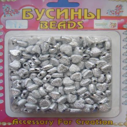 Фото Бусины ,полубусины ,стразы,.цветок.шина, тесьма пластик, Бусины  разные Бусина  8 мм.  Серебряного,  блестящего  цвета