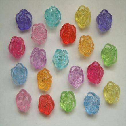 Акриловые  бусины   12 * 11  мм.   в  виде  цветка  розы  с  отверстием  1,5 мм.    Продаются  в  смешении  (  10  цветов )   упаковка 20 шт.