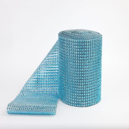 Фото Бусины ,полубусины ,стразы,.цветок.шина, тесьма пластик, Шина Шина  24 ряда камней , цвет Голубой , ширина  11,7 см.