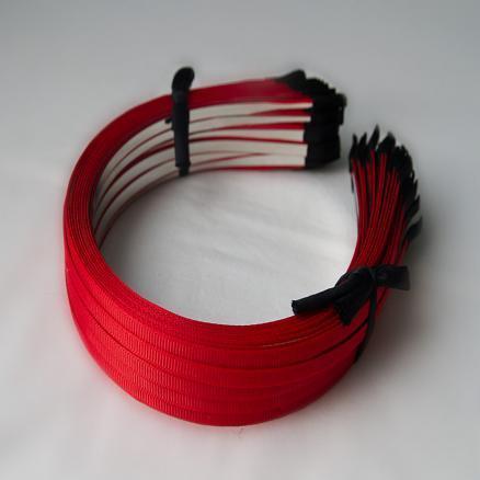 Заготовки- обручи металл красный обклеен репсовой  лентой, 0,6 см
