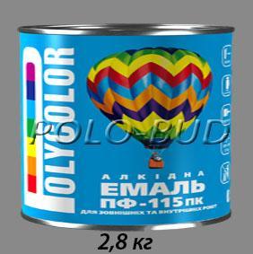 Фото ЗАЩИТА ДЕРЕВА/МЕТАЛЛА, эмаль ПФ-115 Эмаль серая ПФ-115 «Polycolor»; 2,8кг