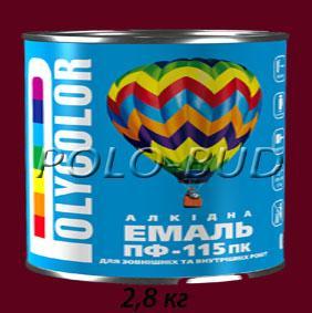 Фото ЗАЩИТА ДЕРЕВА/МЕТАЛЛА, эмаль ПФ-115 Эмаль вишневая ПФ-115 «Polycolor»; 2,8кг