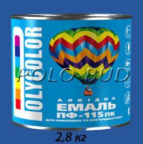 Фото ЗАЩИТА ДЕРЕВА/МЕТАЛЛА, эмаль ПФ-115 Эмаль синяя ПФ-115 «Polycolor»; 2,8кг