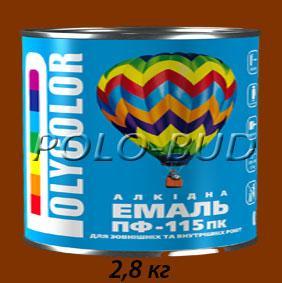 Фото ЗАЩИТА ДЕРЕВА/МЕТАЛЛА, эмаль ПФ-115 Эмаль коричневая ПФ-115 «Polycolor»; 2,8кг