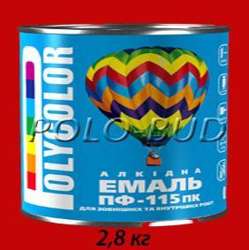 Фото ЗАЩИТА ДЕРЕВА/МЕТАЛЛА, эмаль ПФ-115 Эмаль красная ПФ-115 «Polycolor»; 2,8кг