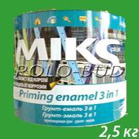 ГРУНТ-ЭМАЛЬ (3 в 1) зеленая «Miks»; 2,5 кг