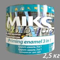 ГРУНТ-ЭМАЛЬ (3 в 1) серая «Miks»; 2,5 кг