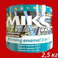 Фото ЗАЩИТА ДЕРЕВА/МЕТАЛЛА ГРУНТ-ЭМАЛЬ (3 в 1) красная «Miks»; 2,5 кг