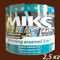 Фото ЗАЩИТА ДЕРЕВА/МЕТАЛЛА ГРУНТ-ЭМАЛЬ (3 в 1) шоколадно-коричневая «Miks»; 2,5 кг