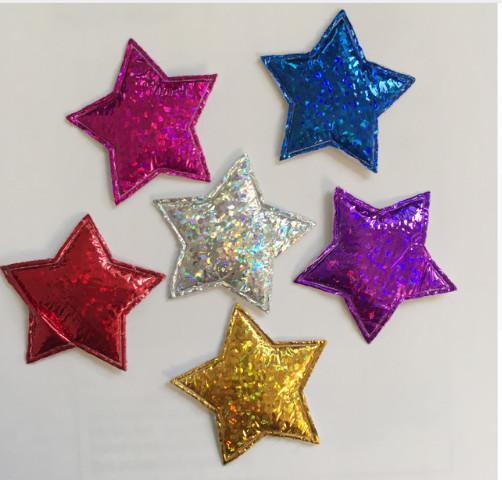 Фото Вязаный ,тканевый  декор . помпоны Патчи звёзды 29 мм,  упаковка  6 штук