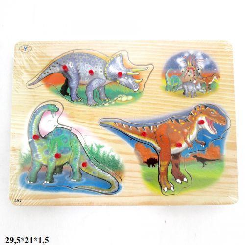 """Деревянный вкладыш-пазл """"Динозавры"""" со звуками"""
