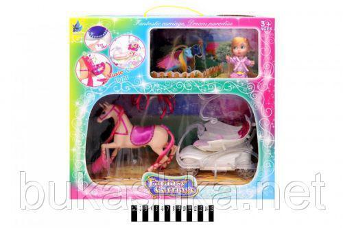 Карета с лошадкой (розовое седло) и куклой