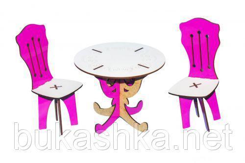 Круглый стол + 2 стула (бело-розовый)