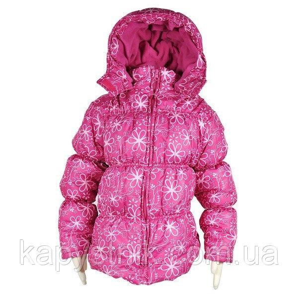 Куртка демисезонная дутая для девочки  р.98,104 ТМ PIDILIDI (Чехия) розовая цветы