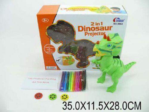 """Набор: проектор """"Динозавр"""", насадки и фломастеры"""