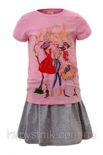 Детский комплект для девочки Glo-Story: GLT-4088 Роз+Сер