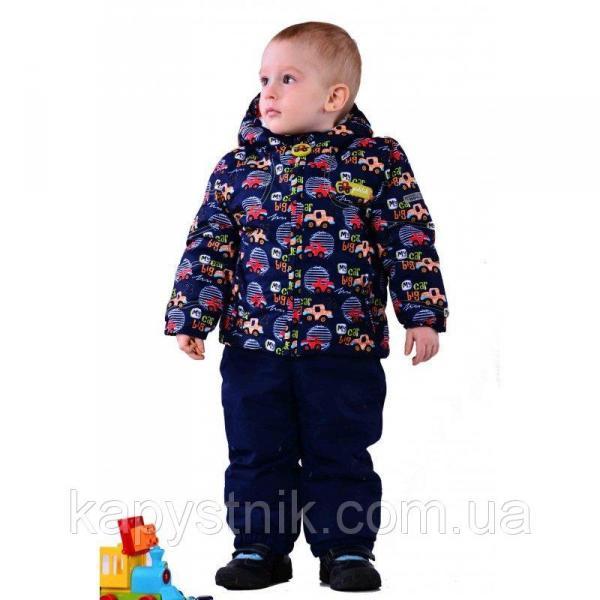 """Зимний комплект на мальчика, куртка и полукомбинезон """"Авто"""" р.80-98 ТМ Pidilidi-Bugga (Чехия)"""