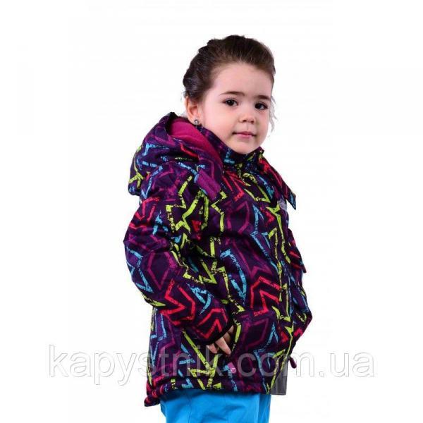 """Зимняя термокуртка """"Графити"""" Ski tour для девочки р.98-128 ТМ Pidilidi-Bugga (Чехия)"""