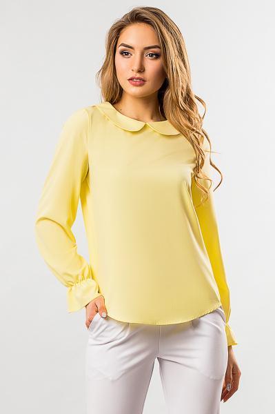 Блузка с круглым воротником желтого цвета М (46)